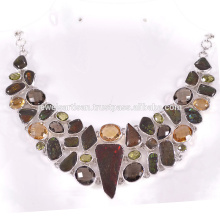 Natural Ammolite And Multi Gemstone 925 Sterling Silver Necklace
