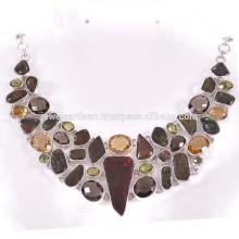 Ammolite Natural e Multi Gemstone 925 Sterling Silver Necklace