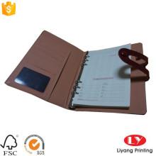 Cuaderno de oficina de cuero personalizado con bolsillo