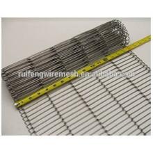 Convoyeur à bande de fil plat d'acier inoxydable / en métal de convoyeur à bande / ss de ceinture de conveyeur en acier