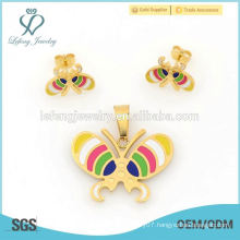 Top selling fashion jewelry sets factory price,316l yellow gold stainless steel butterfly sets design for ladies
