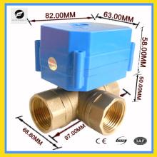 Válvula de bola motorizada de 110v de una entrada y dos de salida
