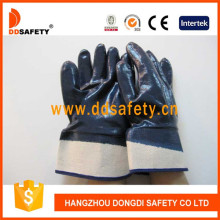 Algodón o forro de Jersey Guantes de seguridad revestidos con nitrilo pesado Dcn308