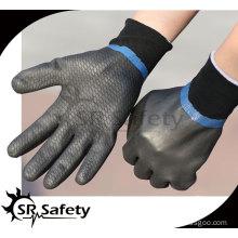 SRSAFETY Oil resistant gloves/industrial full coated black foam nitrile gloves sandy finish