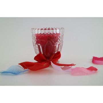 Mehrfarbige Soja-Wachskerze in einem Weinglas-Glas geschmückte Glas-Kerze für Hausdekoration