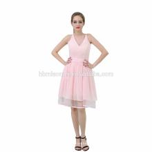 Neueste Party Wear V-Ausschnitt rosa Farbe Mini kurze große Mädchen Abend Party Kleid