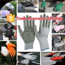 SRSAFETY 13G Черные бесшовные трикотажные нитриловые рабочие перчатки / защитные перчатки / трикотажные перчатки