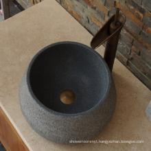 G654 dark grey round antique granite sink