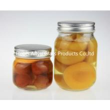 500ml 1000ml redondo Mason vidro Food Jars com tampas de prata