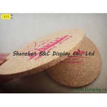 Cortiça pura inteira da venda com o coaster redondo da cortiça do logotipo da impressão de seda com GV (B & C-G102)