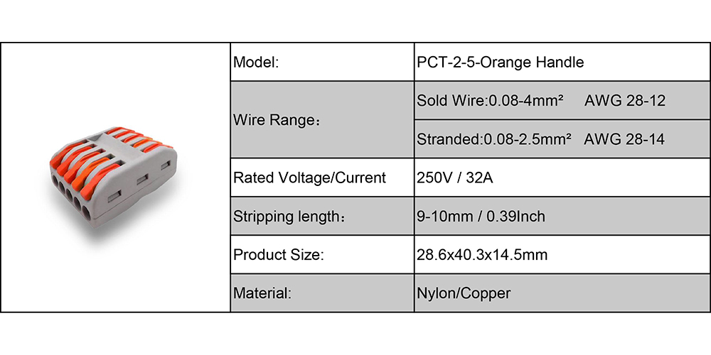 PCT-2-5 wire connector- orange handle