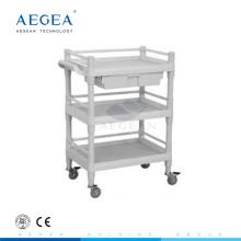 AG-UTB09 ABS material de plástico hospital utilidad carro con asa lateral