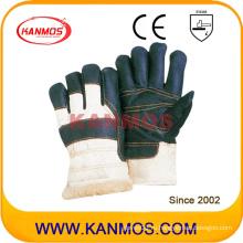 Темные кожаные перчатки для защиты труда в промышленности (31302)