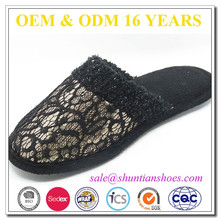 New fashion black lace and sequined upper indoor slipper for women