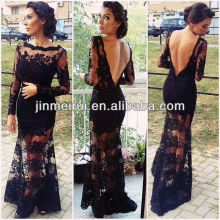 2014 New Arrival Sexy Black V Retour Mermaid See Through Long Sleeve Lace Robe de soirée