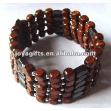"Magnetic Wood Beaded Wrap Bracelets & Collier 36 """