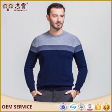 Темно-синий 100 % полосатый шерстяной свитер с круглым воротником шеи для мужчин