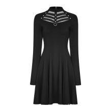 Punk steam women winter dresses daily fashion long sleeve O neck hollow out rivet elegant black vestidos dress OPQ-366 PUNK RAVE