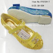Dourado crianças princesa sapatos sapatos planos meninas sapatos (ff0724-7)