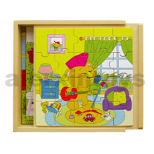 Wooden Puzzles in Wooden Box (80139)