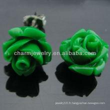 2013 Boucles d'Oreilles en Forme Rose Carved Green Rose Flower Stud EF-011
