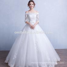Elegante vestido de noiva novo 2016 Chic vestido de baile inchado de tul Branco vestidos de casamento brancos