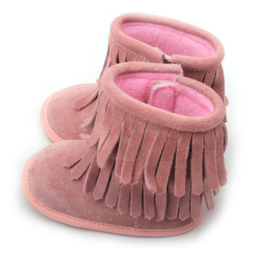 Suede Leather Pink Girls Baby Winter Boots