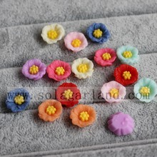 13MM Resin Poppy Flower Flat Back Flower Beads No Hole