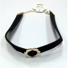 PU Necklace Choker with Flower Charm Gold Plated