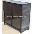 Промышленный Старинный Шкаф Темного Цвета Стеклянные Двери
