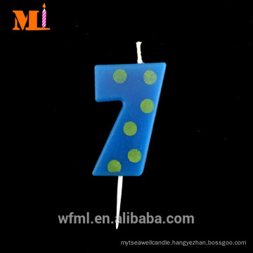 Global Supply Free Combination Zero To Nine Funky Yellow Dots Printed Blue Number 7 Candle Birthday