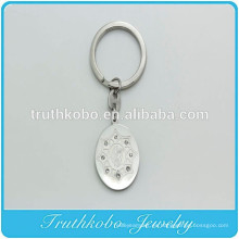 Llavero católico del encanto de la medalla milagrosa de plata del acero inoxidable de encargo del vintage