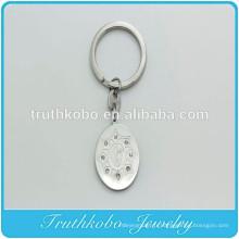 Porte-clés avec breloque catholique et médaille miraculeuse vintage en acier inoxydable sur mesure