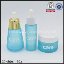 30ml 50ml Frasco de vidrio esmerilado 30g Frasco de cosméticos de viaje Set botella cuentagotas