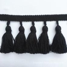 Direct Sales High Quality 7cm Width Black Cotton Tassel Fringe
