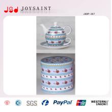 Pot de thé en porcelaine ancienne avec soucoupe