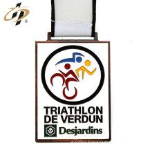 Antique bronze zinc alloy custom triathlon sports medals with lanyard