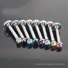 Couleur mélangée couleur pierre cristal fil Labret Ring 316L en acier chirurgical Fashion bijoux de corps
