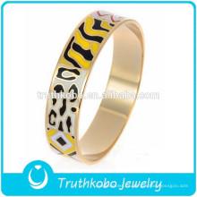 La moda montó el brazalete plateado oro único colorido multicolor de epoxy de la joyería brazalete del esmalte del oro brazalete del acero inoxidable al por mayor