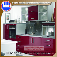 2016 Armário de madeira brilhante para armário de cozinha