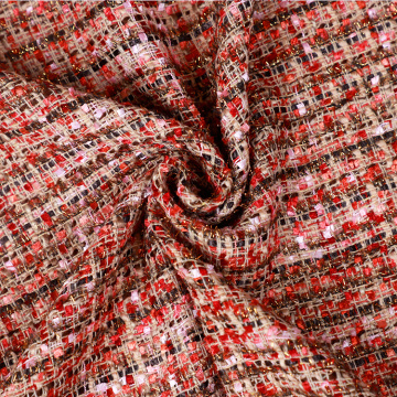 Hot Red Cotton Brocade Fabric