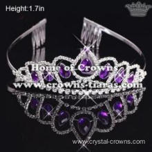 Fashion Crystal Pageant Tiaras With Purple Stones