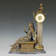 Clock Statue Flower Lady Bell Bronze Sculpture Tpc-010