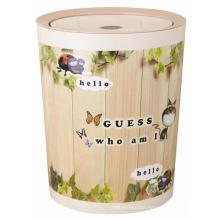 Flip-on Fashion Round Plastic Toilet Pail Paper Basket (FF-5257-1)