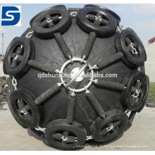 Tipo pára-choque de borracha inflável marinho de Yokohama com rede da corrente do pneu para o barco
