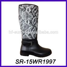 Bota de tacón alto de las mujeres nueva bota de lluvia superior de la PU