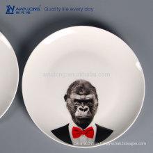 Platos de cerámica de los platos de la impresión animal, vajilla de cerámica china de la porcelana para la personalización