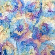 Ausgefallener bunter Brautrosen-Blumen-Polyester-Strick-Mesh-Dribbling bestickter Spitzenstoff für Tanzkleidung