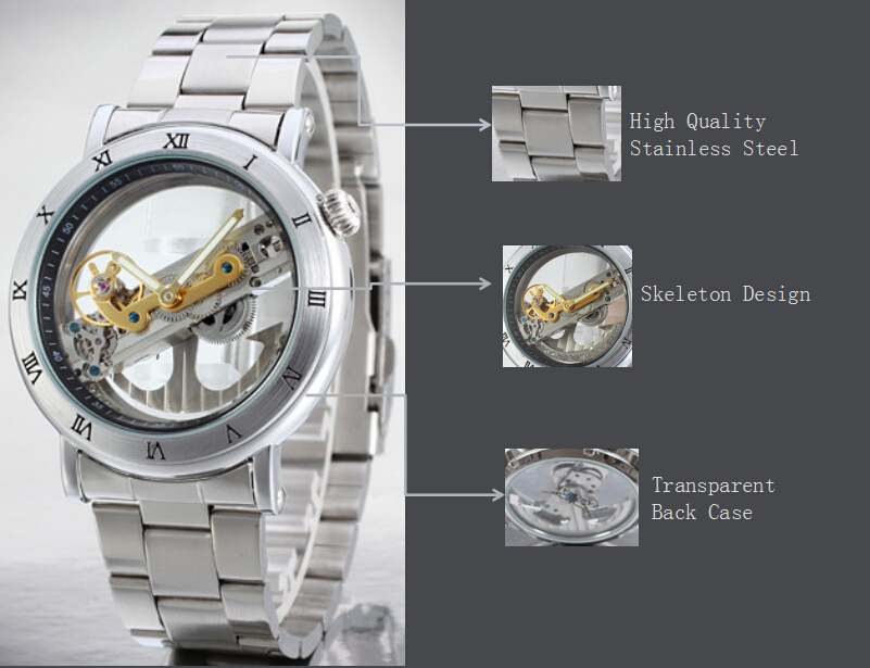 316L Stainless Steel Tourbillon Automatic Mens Watch