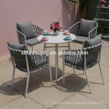 Popular outdoor  poolside rope furniture  dining set  5 pieces rope chair and aluminum table for lounge